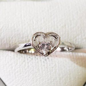 Silver Rhodium Plated Cz Ring